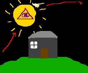 illuminati sun rises over house