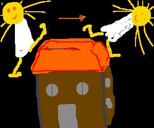 sun god jumps over a house