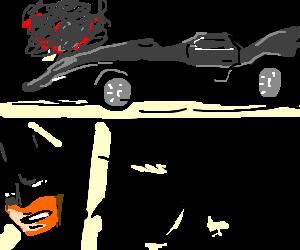 Batmobile breaks down, Batman uses subway.