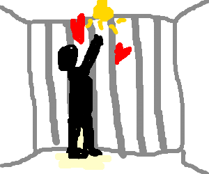 Inmate displaying dear affection to a lightbulb