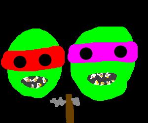 Ninja Turtles need to visit the dentist.