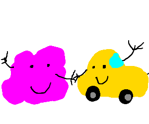 Purple cloud and yellow car are best friends