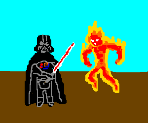 Darth Vader fights the Human Torch