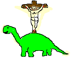 Jesus on the cross, on a dinosaur