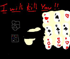 Darth Vader threatening poker cards