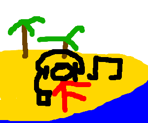 Listening to music in the beach