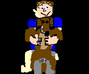 Man hugs happy pooping dog