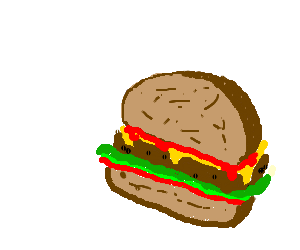 half eaten cheese burger