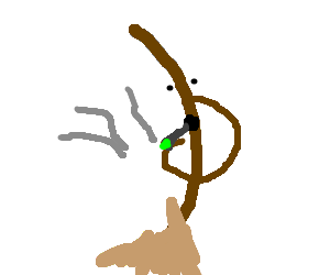 Curved broom smoking a joint
