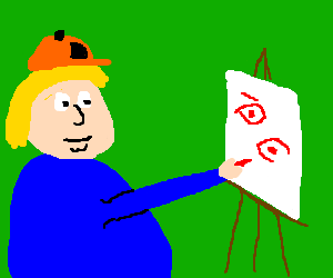 Chris Griffin paints his eyes with red crayon