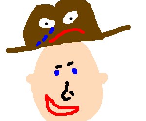 A man with a crying hat
