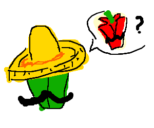 A mexican green pepper searching for his buddy