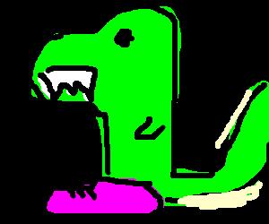 T-Rex wearing pink shoes casually walking