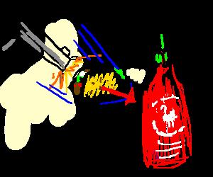 Gun shooting a taco in the hot sauce