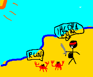 Pregnant ninja w/sword hunts crabs on beach
