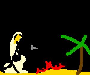 Pregnant ninja tries to stab crabs on beach.