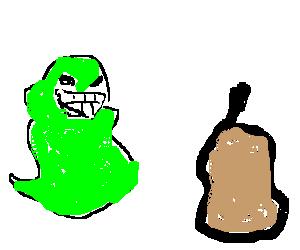 A slimer vs a pear
