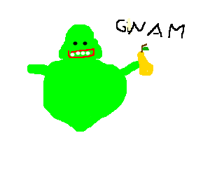 slimer plots to eat pear