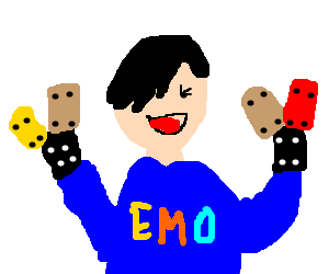 EMO kid is happy with his lego hands