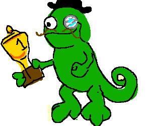 """A monocled """"sir"""" chameleon admiring a trophy."""