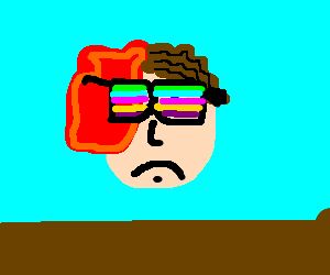 Half faced tumour man w/ rainbow glasses
