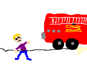 Firetruck kills a man