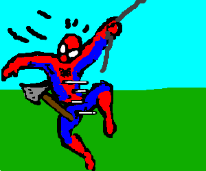 Flying axe attacks Spiderman