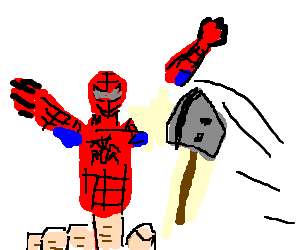Spiderman finger puppet gets dismembered