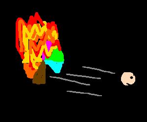 man running from flaming umbrella