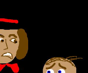 Willy Wonka yells at Charlie