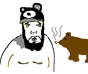 Furry-hat man horrified to find bear cub smoking