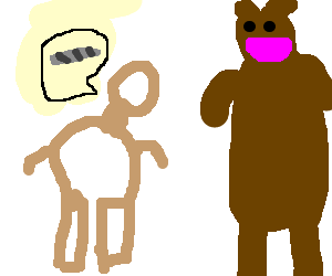 Depressed Caveman asks bear for joint