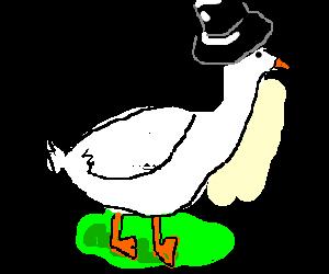 Purple Goose Wearing a Top Hat
