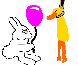 Rabbit showing balloon to duck hanging from noos