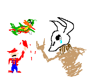 Mario sacrifices a koopa's heart to Ba'al