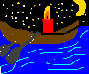 Candle on a rowboat on a moonlit night