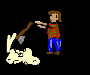 Indifferent lumberjack cracks skull with axe.