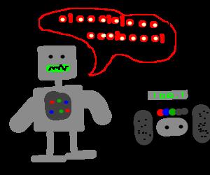 Robot singing in Binary.
