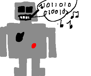 Robot singing Binary