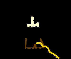 Muscle man springs a leak