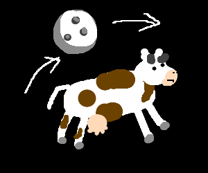 The moon jumping over a cow