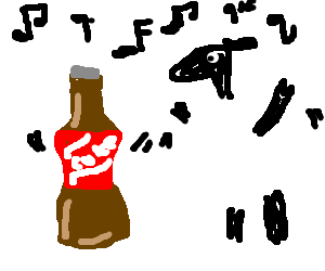 Bottle of Coke dancing with a sheep