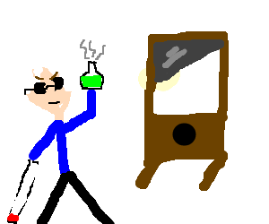 Blind man does science in front of a guillotine