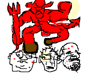 devil dancing angry on 3 nerds heads
