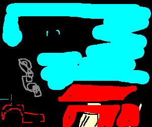 Sad farmer about to crash into his barn
