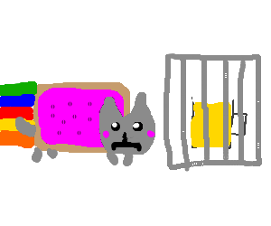 Nyan cat looking unhappily at beer in a cage.