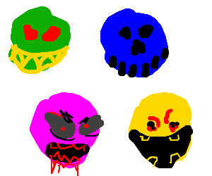 A green, a blue, a pink and a yellow scary faces