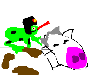 Russian frog riding a cow