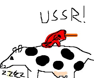 Soviet frog w/ tongue out, sits on sleeping cow