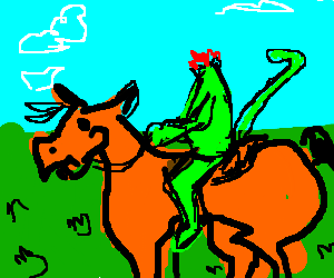 Green headless horseman with a tail